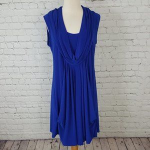 Joseph Ribkoff Blue Dress Draped Pockets sz 12